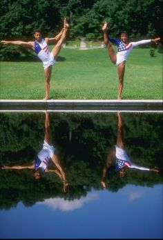 Flashback!! Gymnasts Dominique Dawes and Jair Lynch of the USA, both medalists at the 1996 Centennial Olympic Games in Atlanta, Georgia, pose together outside Washington, D.C.