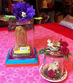 Kathy Cano-Murillo's glass jar shrines. I just got one of her craft books and love her ideas so much... I can't wait to get started.