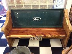 Ford Lovers. Hand Carved Bench w/ FORD Tailgate Back One of a Kind