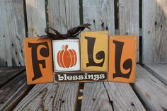 Fall Autumn Thanksgiving FALL BLESSINGS Wood Block Set Primitive Fall Autumn Thanksgiving Gift Country Wood Sign $19.95