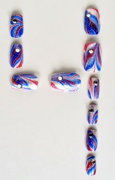 4th Fourth of July Water Marble Nail Art Red White Blue Glitter Rhinestone Patriotic American Abstract Summer OOAK Introductory. $15.00, via Etsy.