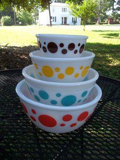 Vintage Hazel Atlas Polka Dot Mixing Bowls by ssmith7157 on Etsy