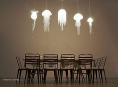 Beautiful! I'd love to try making these jelly-fish inspired chandeliers at home.