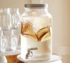 I am so getting this.......Mason Jar Drink Dispenser | Pottery Barn