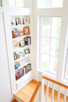 decor, builtinbookcas, bookcases, stairs, beauti builtin, hous idea, future house, builtin bookcas, cottages