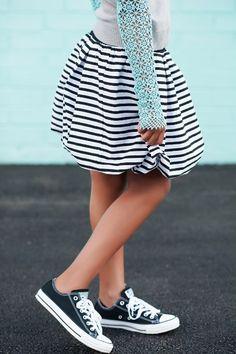 Tween Girls Black and white stripe Bubble skirt - Tween Fashion