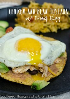 bean tostada, fri egg