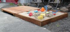 DIY Sandbox: With a hinged cover that doubles as a deck! backyard, deck, kid