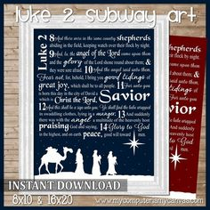 Luke 2 Nativity Christmas Subway Art - Printable #mycomputerismycanvas