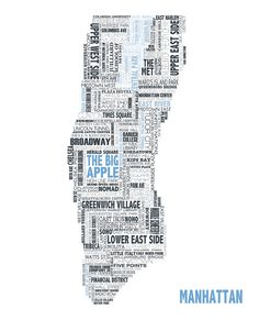 typographical map of manhattan