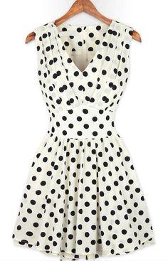 White V Neck Sleeveless Polka Dot Pleated Dress