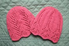 Two Lace Baby Hats - Baby Clothing Knitted My Patterns - - Mama's Stitchery Projects