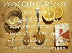 make a cold cure: water, lemon juice, garlic, ginger, honey, cayenne pepper.