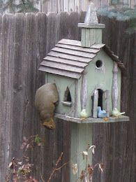 Rustic Old Church Birdhouse ... Oh and a squirrel.  :)