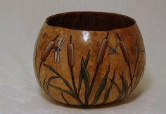 Woodburned dragonflies and cat tails gourd bowl or planter