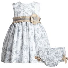 White  Grey Toile De Jouy Dress Set - Dresses - Baby | Childrensalon