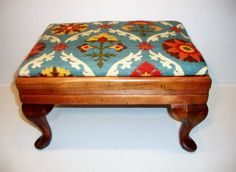 Antique Footstool Reupholstered in Waverly by PenelopesPillowz