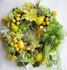 Spring, Summer, All Year Round Lemon/Pear Fruit Silk Flower Door Wreath. $69.95, via Etsy.