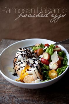 Parmesan Balsamic Poached Eggs With Parisian Side Salad