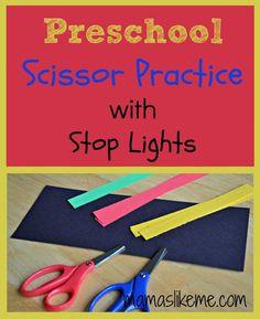 Mamas Like Me: Scissor Practice Stop Light Craft #transportation #kidscrafts #preschool