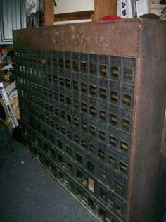 I would also like an antique post office or chunk of post office boxes. I saw one of these at the Highlands Festival in Abingdon, VA and drooled. I also saw plenty of hardware cabinets, a writing desk, and a pair of saloon doors that would have been stashed in my car had I had, you know, money. Or a house.