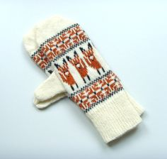 Mittens Fox Mittens in Lambswool Wool Animal Motif Mittens Knitted Mittens Brown Mittens Cream Mittens Fox Gloves Animal Gloves Fairisle