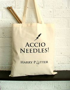Large knitting project bag  Harry Potter by KellyConnorDesigns,  I'm such a nerd!! Knitting and Harry Potter!!