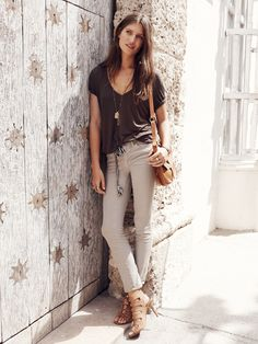 Madewell skinny skinny crop jean worn with v-neck slouch tee + Ensign necklace.