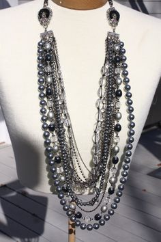 pearls and jewels multi strand necklace