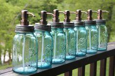 Mason Jar Soap Dispenser with Copper Metal Pump - Quart Jar Lotion Bottle - Mason Jar. $18.00, via Etsy.