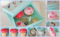 'Memories' Box, created from sugarpaste, with sugarpaste items inside, plus 2 fondant covered cupcakes. In aid of Dementia charity exhibition with Stamford Artisans Guild