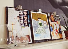 Diy clipboard to display photos in your home from A Beautiful Mess