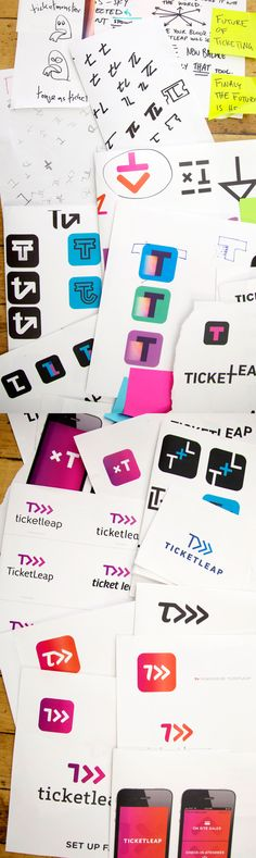 TicketLeap sketches and process by RED ANTLER , via Behance. TICKETLEAP is website for seling, scanning tickets and spreading the word about an Event.