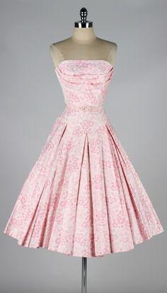 Vintage 1950's Pink Floral Polished Cotton Dress http://www.1stdibs.com/fashion/clothing/day-dresses/