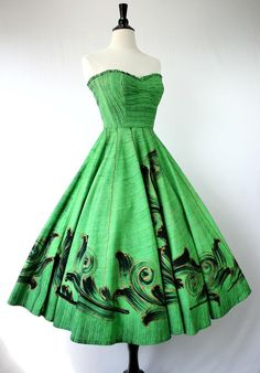 1950's Hand Painted? Green Dress