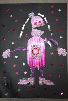 Kids Love Craft: Cardstock Robots with button parts