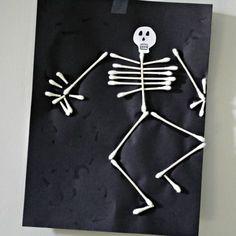 halloween parties, kids diy, halloween kid crafts, diy crafts, halloween crafts, skeletons, diy project, halloween kids, qtip skeleton