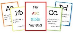 bible verse abc cards... also other verses good for prek and k