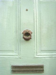 interior design, green doors, spring color, door knockers, mint green