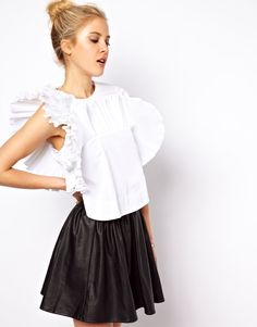 Shell Top with Exaggerated Ruffle