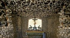 Shin bones decorate the ceiling, skulls line the walls and over 21,000 bodies are buried in the basement  Read more: http://www.smithsonianmag.com/travel/skull-chapel-kaplica-czaszek-poland-229781781.html#ixzz2jylTvcCQ