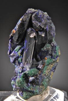 Azurite with minor malachite  Touissit, Toussit District  Oujada-Angad Province, Oriental Region, Morocco / Mineral Friends <3
