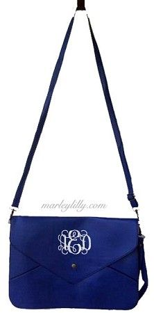 Monogrammed Royal Blue Penny Cross Body Wristlet Purse
