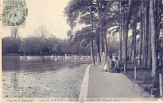 Bois de Boulogne - Le Grand Lac in Paris from a postcard postmarked February 5th, 1905.