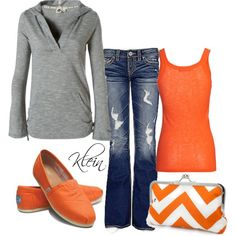 """Fall Outfit: Orange and grey"""