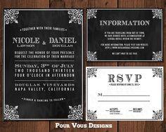 Elegant Wedding Invitation - Black & White. $25.00, via Etsy.