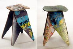 Recycled skateboard furniture