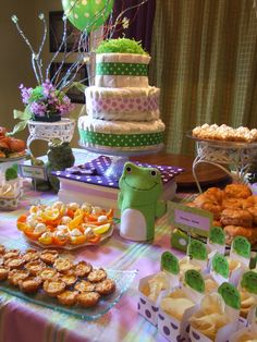 Baby Shower Green And Purple On Pinterest Baby Shower Green Frog Baby Show