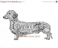 SALE Dachshund Art Print Wiener Dog Art Calligram Drawing, Wiener Dog Art Typography Illustration or Calligraphy Drawing Unique Pet Portrait
