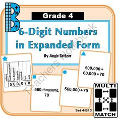 Multi-Match Game Cards 4B: 6-Digit Numbers in Expanded Form from K-8 MathPaths on TeachersNotebook.com -  (9 pages)  - This set of printable cards will help students learn to convert between standard and expanded form (CCSS 4.NBT.2). All cards use the same 3 nonzero digits so students will focus on place value.